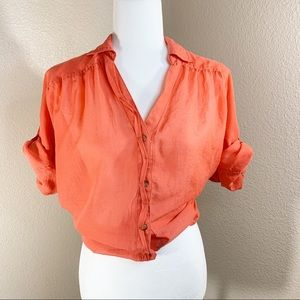EXPRESS Coral Pink Roll Up Sleeve Button Shirt M
